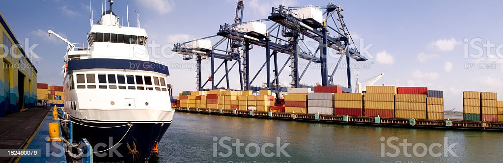 Ship at a Commercial Dock Panoramic royalty-free stock photo
