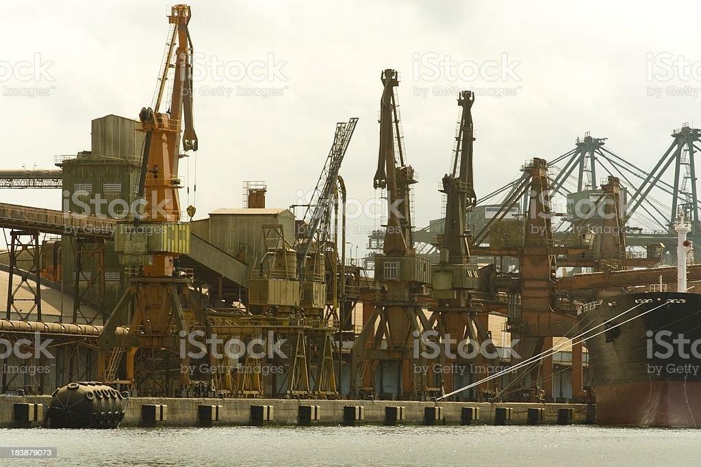 Ship at a port stock photo