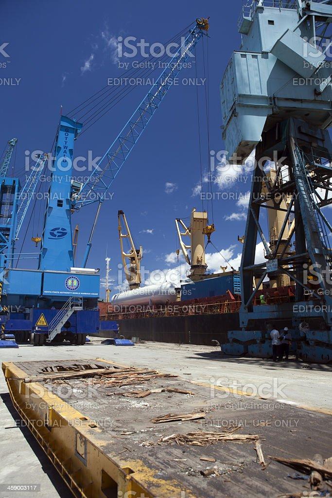 Ship at Mombasa Port in Kenya royalty-free stock photo