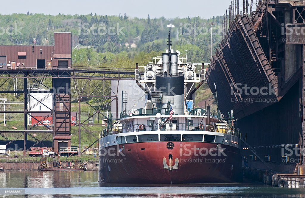 Ship at ore dock ready to depart stock photo