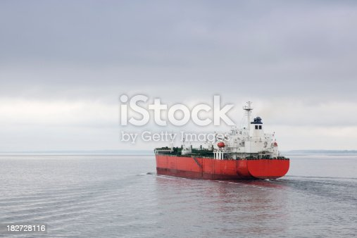Tanker out at sea on an overcast day.