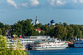 Ship at the pier in the ancient Russian city of Uglich