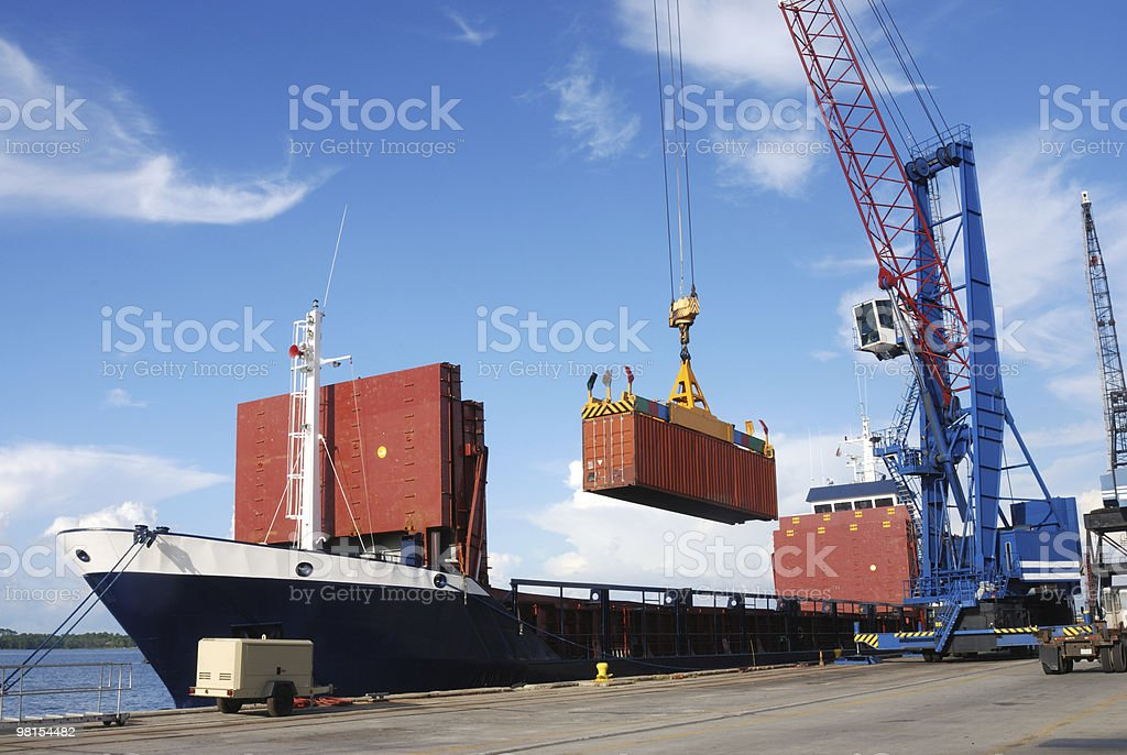 Ship being loaded with containers at a port in Panama City royalty-free stock photo