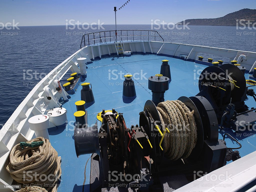 Ship bow and gear in mediterranean sea stock photo