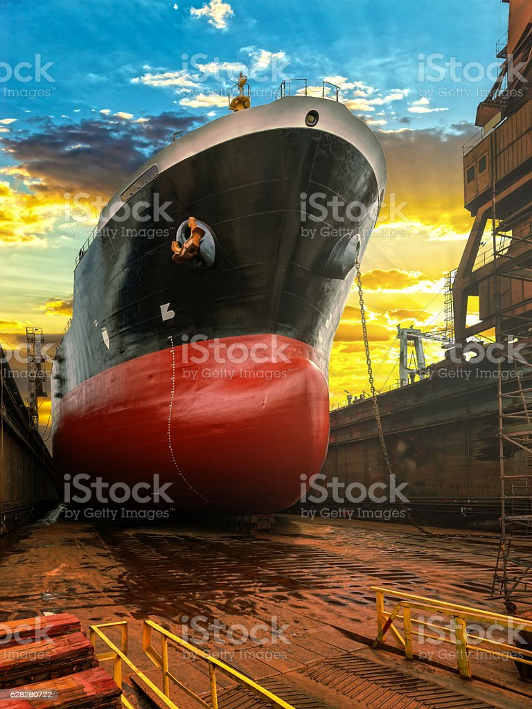 Ship bow at sunrise stock photo