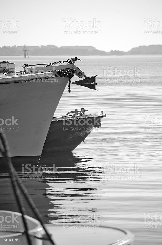 Ship Bows in Black and White stock photo