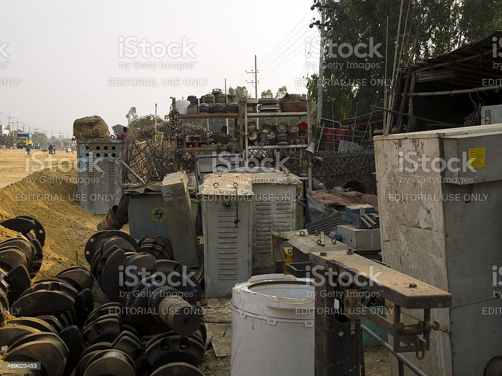Ship breaking industry in Bangladesh royalty-free stock photo