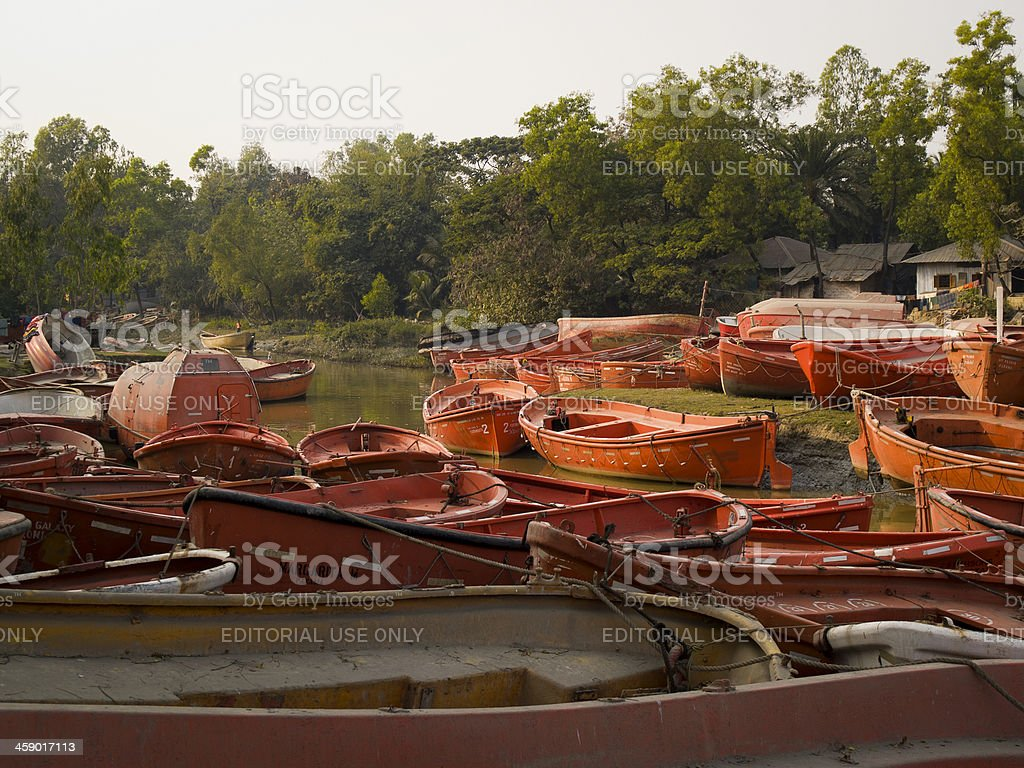 Ship breaking sector springs to life in Bangladesh royalty-free stock photo
