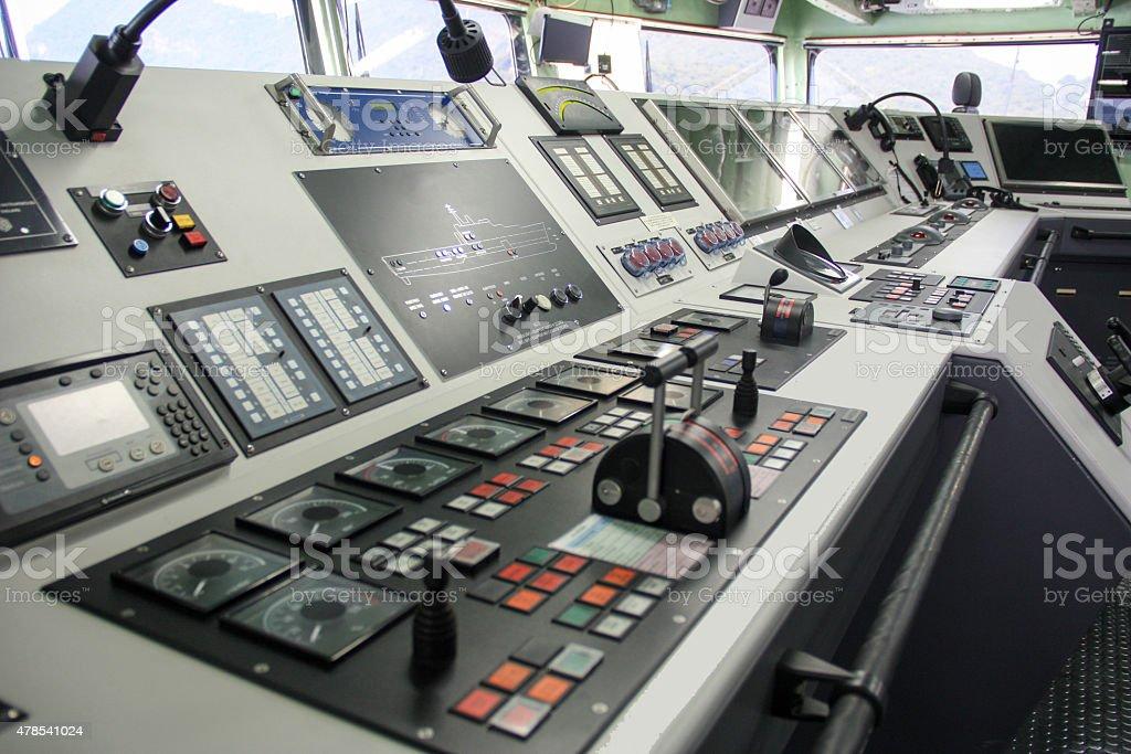 Ship captain control room stock photo