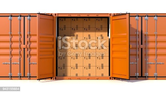 944243850 istock photo Ship cargo container side view full with cardboard boxes 943155654