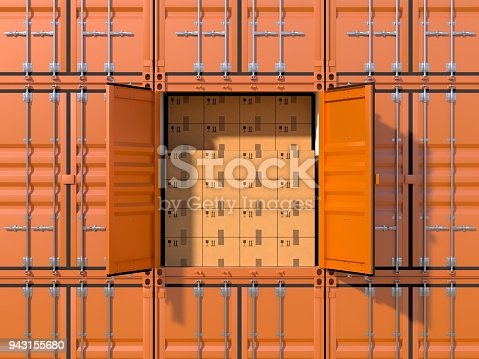 944243850 istock photo Ship cargo container side view full with cardboard boxes 943155680