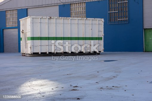 Valencia, Spain, November,29,2016: ship container at the gate of a factory