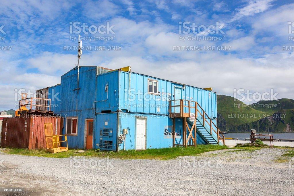 Ship Container house at Unilaska. stock photo