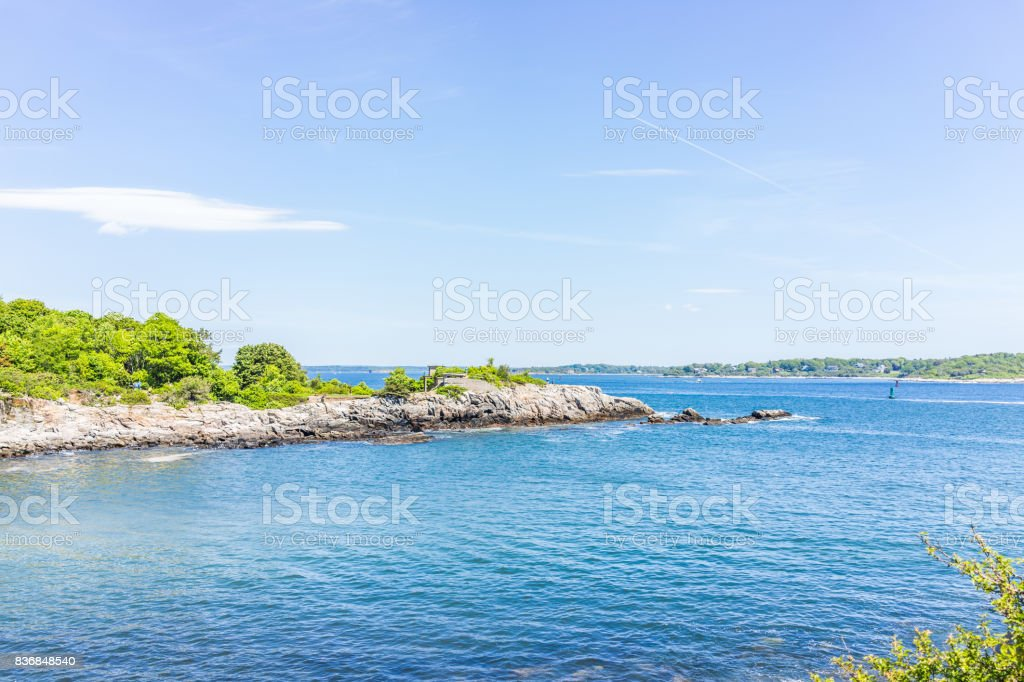 Ship Cove by Portland Head Lighthouse in Cape Elizabeth, Maine stock photo