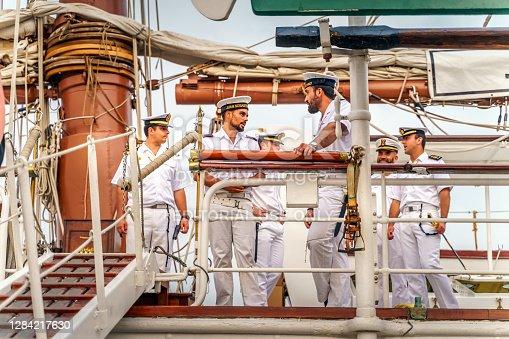 Szczecin, Poland, June 2019 Ship crew on beautiful old sailboat Juan Sebastian de Elcano at Tall Ship races in Stettin, moored at Chrobry Shafts pier