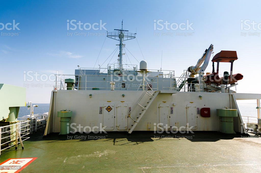 Ship deck, white and blue stock photo