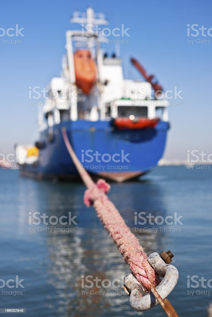 ship docked in a sea port royalty-free stock photo