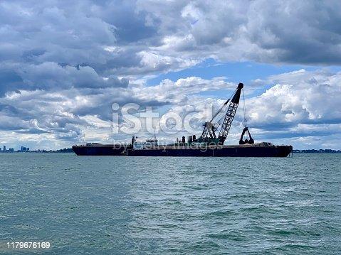 At sea in Boston Harbor, Massachusetts