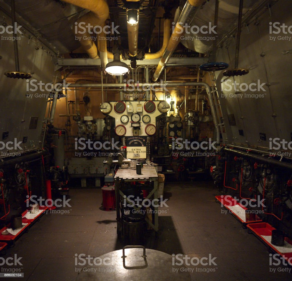 Ship engine room stock photo