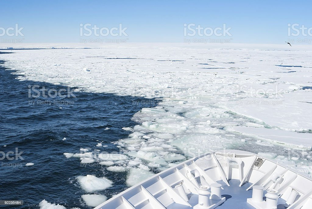 Ship entering pack ice, Antarctica stock photo