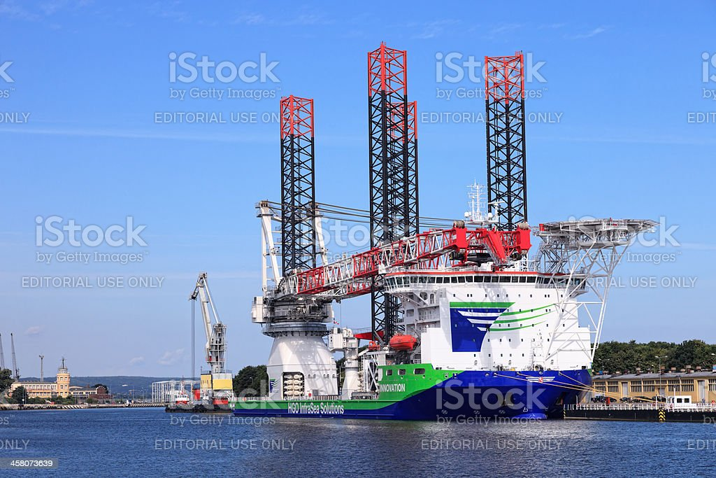 Ship for installing offshore wind turbines stock photo