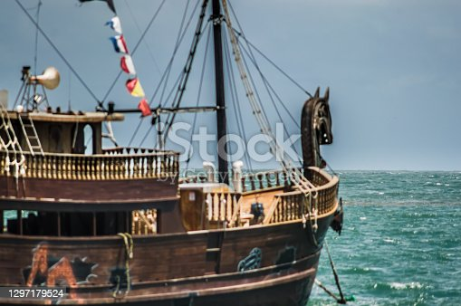 ship freaked out in the sea,caravel,sunny day