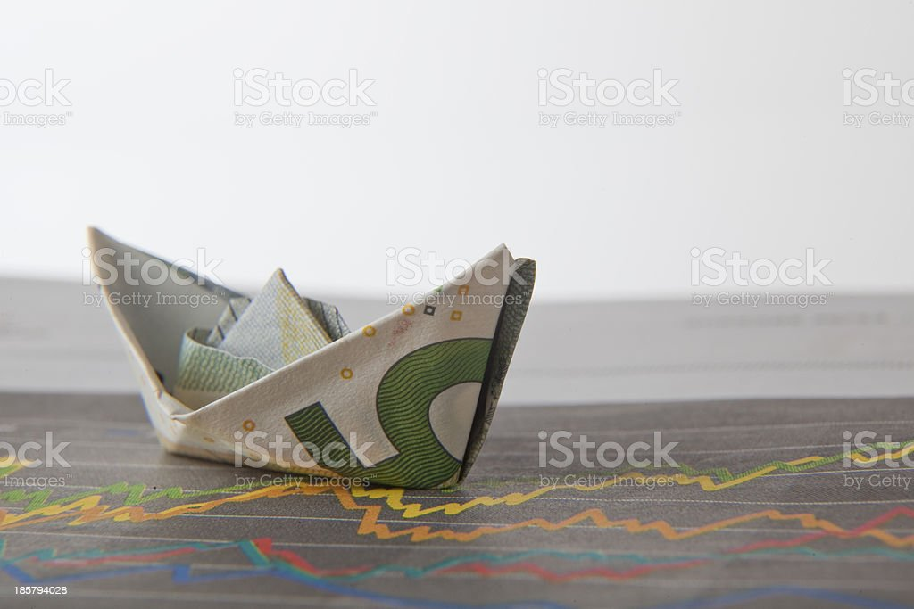 Ship from 5 euro note folded on Stock Chart stock photo