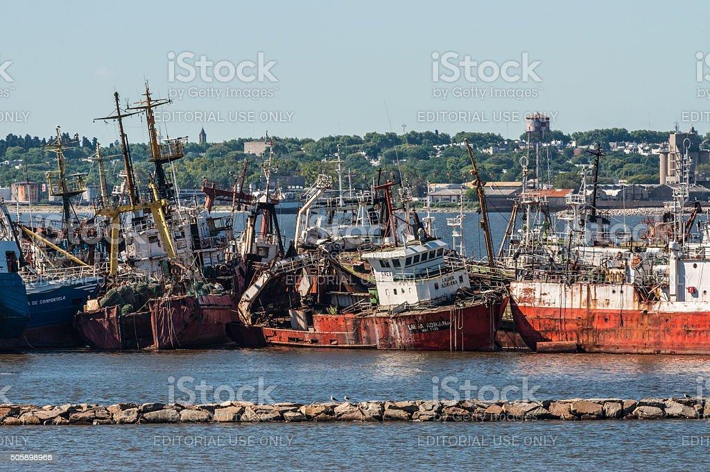 Ship graveyard in Montevideo stock photo