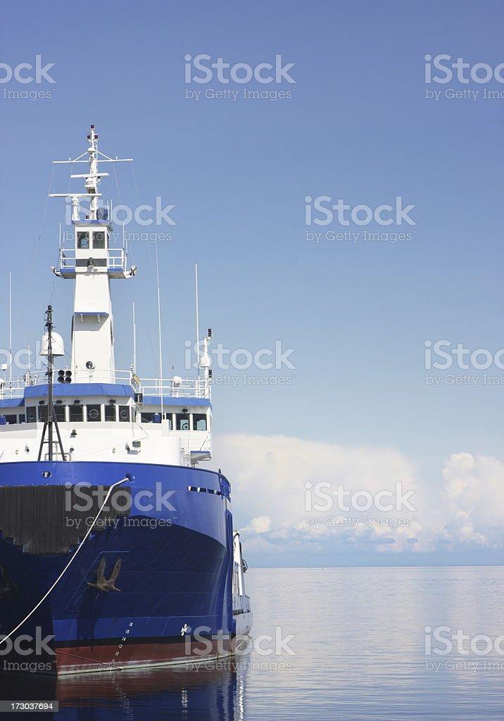Ship Harbor Mooring Ocean Horizon Cloudscape royalty-free stock photo