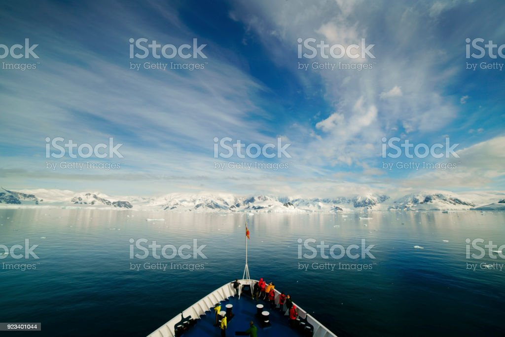 Ship in Antarctica stock photo
