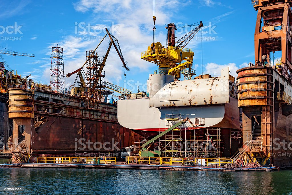 Ship in dry dock stock photo