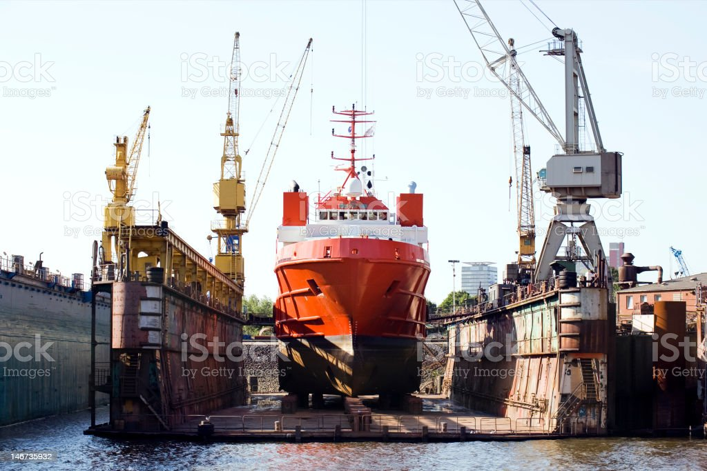 ship in floating dry dock stock photo