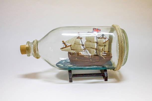Ship in Glass Bottle stock photo