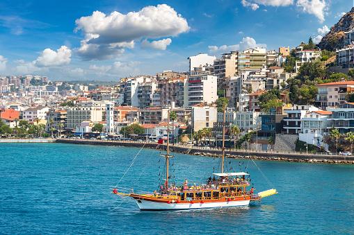 Ship in Kusadasi, Turkey in a beautiful summer day