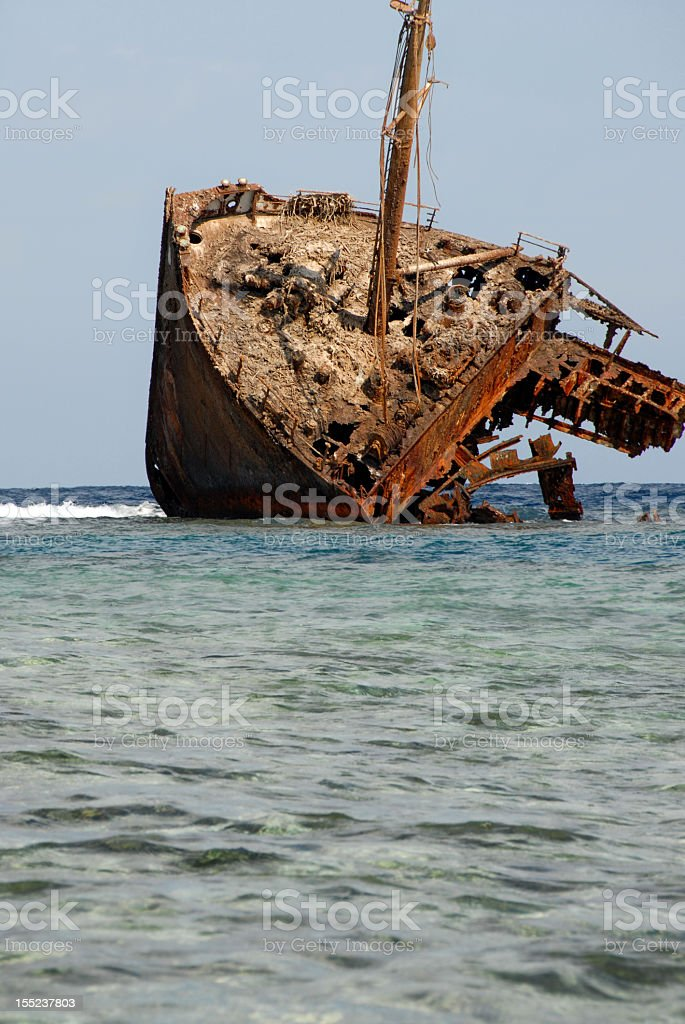 ship in reef royalty-free stock photo