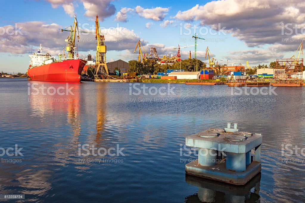 Ship in shipyard stock photo