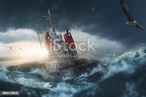 Ship in storm on the sea
