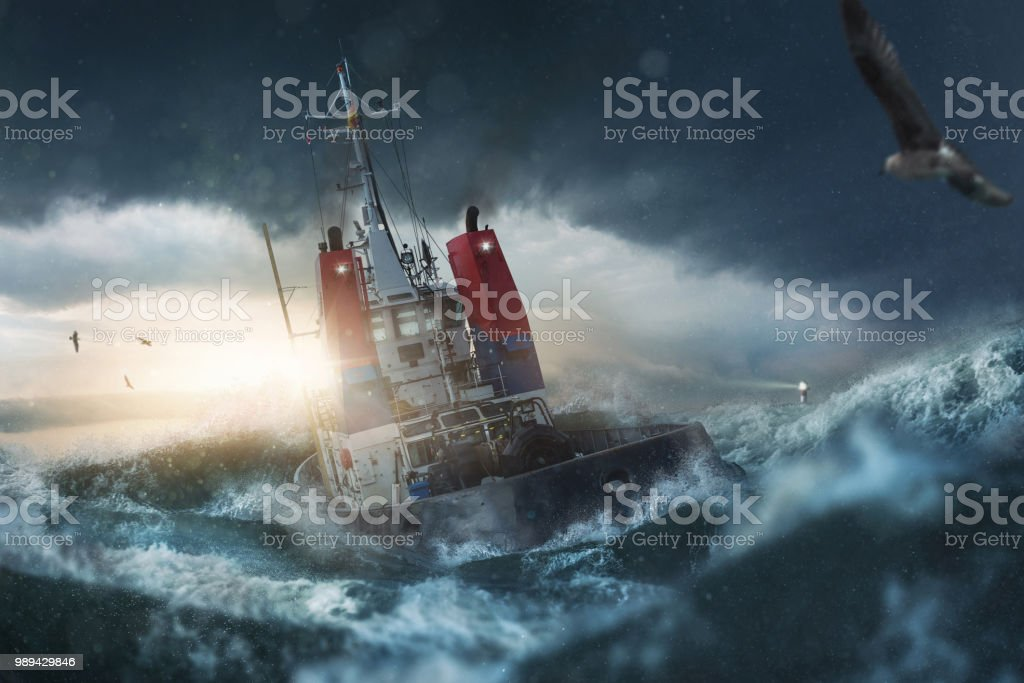 Ship in storm on the sea - foto stock
