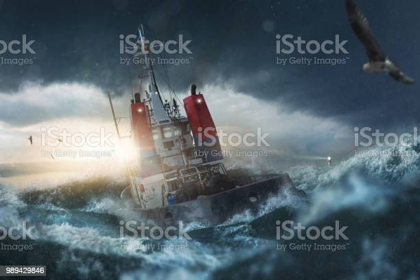 Photo of Ship in storm on the sea