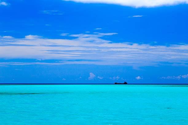 Ship in the Caribbean ocean. stock photo