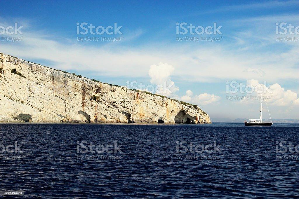 Ship in the Ionian Sea stock photo