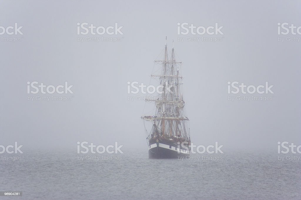 ship in the mist royalty-free stock photo