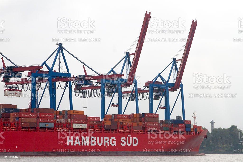 Ship in the port of Hamburg . stock photo