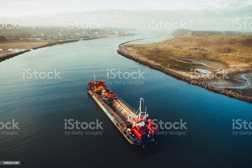 Ship in the river stock photo