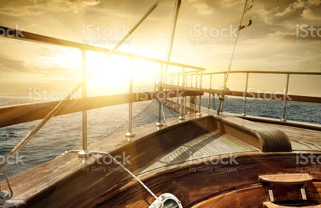 Ship in the sea stock photo
