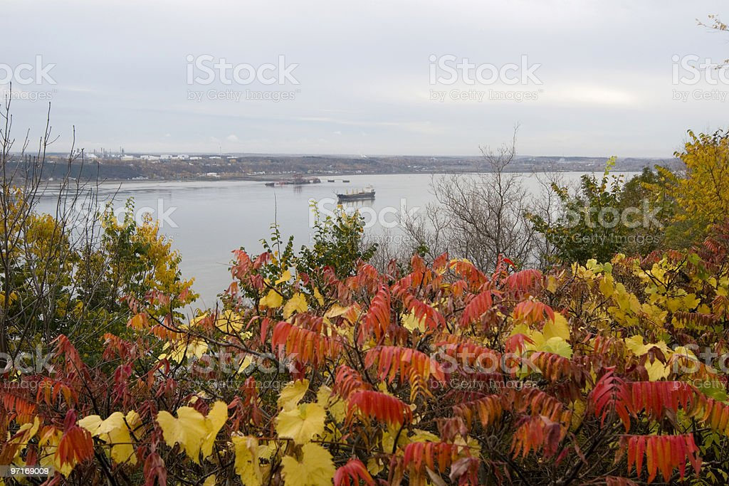 Ship in the St. Lawrence River royalty-free stock photo