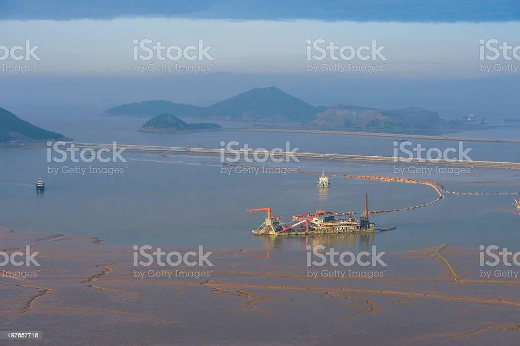 Ship in the water while creating china stock photo