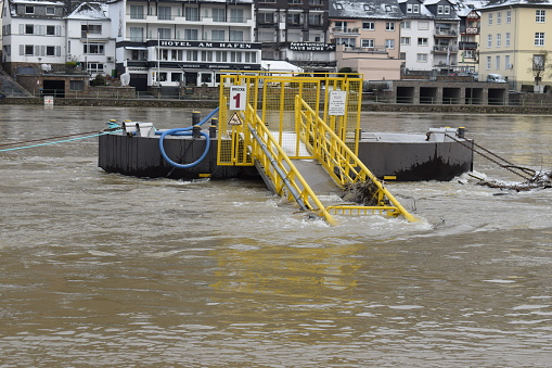 ship jetty in the Mosel flood