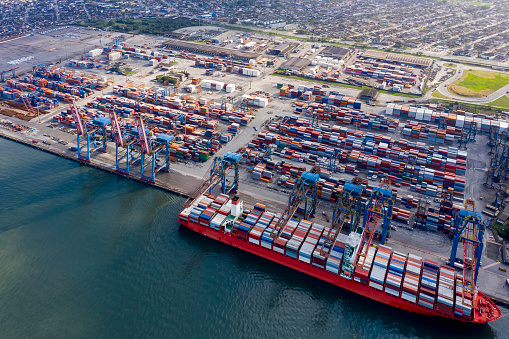 ship loading at Santos port in Sao Paulo, Brazil, seen from above