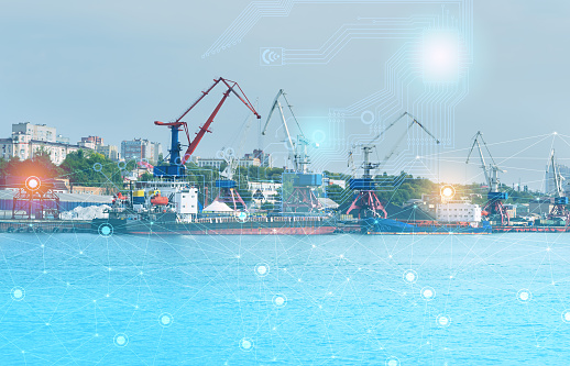istock ship loading control using the Internet of things technologies, distribution of deliveries around the world in automatic mode. industry 4.0 in the future of mankind 1180036608